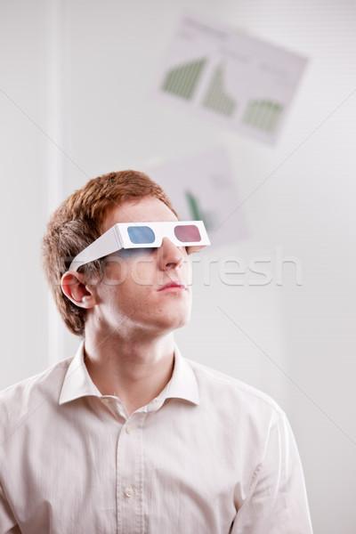 Stock fotó: 3d · szemüveg · néz · jövő · férfi · televízió · otthon
