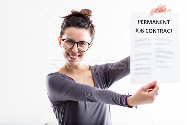 Emploi contrat avenir heureux femme Photo stock © Giulio_Fornasar