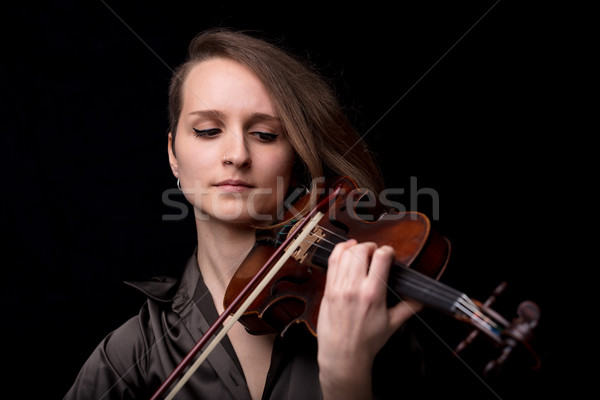 front view portrait of a violinist woman Stock photo © Giulio_Fornasar