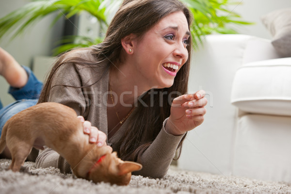 young beautiful woman loving her puppy Stock photo © Giulio_Fornasar