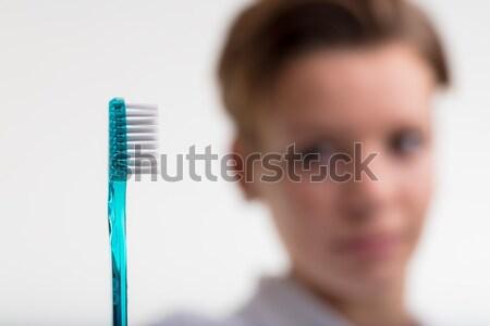 Dental saúde diariamente base escova de dentes foco Foto stock © Giulio_Fornasar