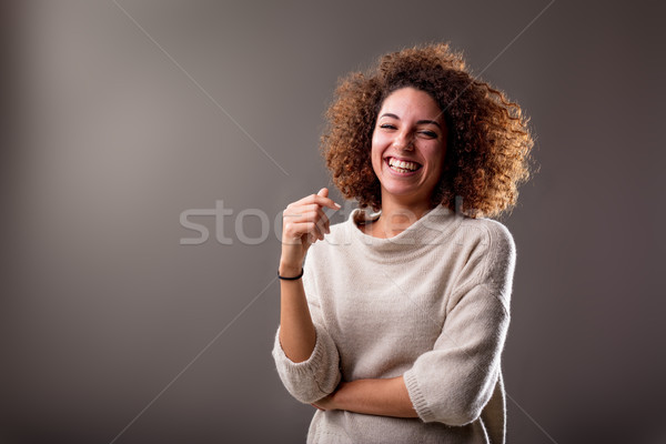 happy curly south-american woman laughter Stock photo © Giulio_Fornasar