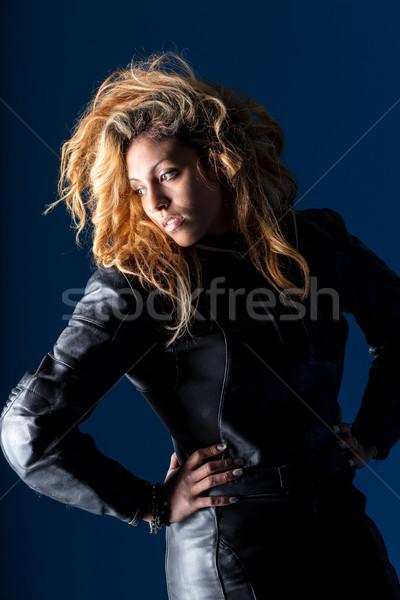 Nő bőr portré hosszú hajú szőke nő motor Stock fotó © Giulio_Fornasar