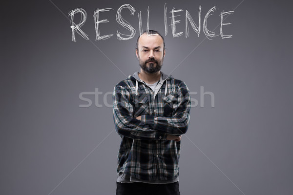 Attractive bearded man with the word Resilience Stock photo © Giulio_Fornasar