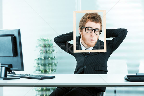 面白い 事務員 腕 画像フレーム 写真 ストックフォト © Giulio_Fornasar