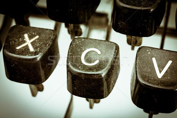 Stock fotó: Levél · klasszikus · írógép · billentyűzet · közelkép · egyéb