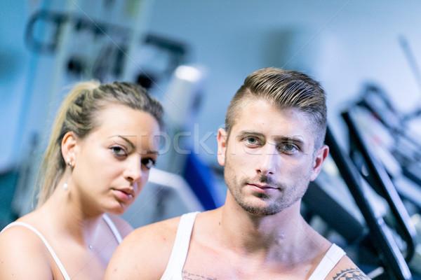 Man vrouw trainers gymnasium fitness sport Stockfoto © Giulio_Fornasar