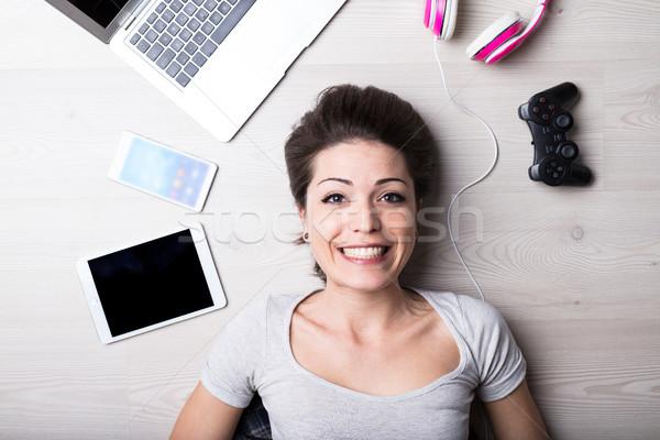 woman with creative entertainment tools Stock photo © Giulio_Fornasar