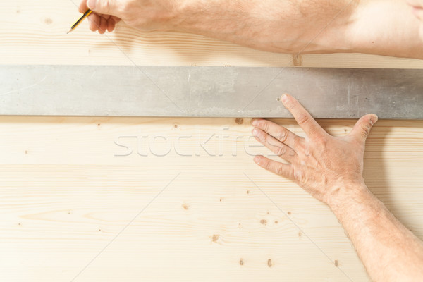 hands of a woodworker in his carpentry Stock photo © Giulio_Fornasar