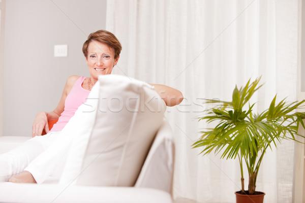 Maturité fraîches femme heureux vieille femme saine Photo stock © Giulio_Fornasar