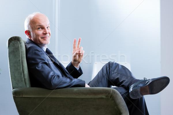 деловой человек хитрый улыбка победителем Сток-фото © Giulio_Fornasar