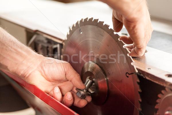 手 手 作業 マシン 危険 見た ストックフォト © Giulio_Fornasar