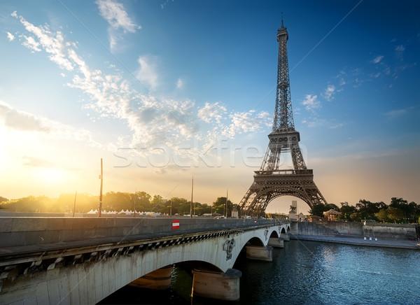 Wieża Eiffla most rzeki Paryż Francja niebo Zdjęcia stock © Givaga