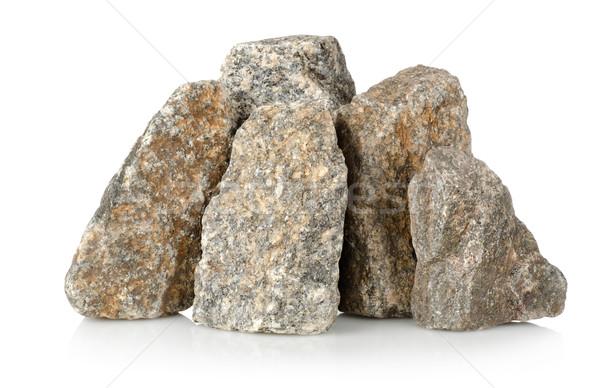 Halom sóder kövek izolált fehér gránit Stock fotó © Givaga