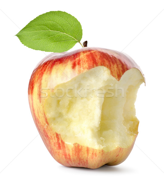 Eaten red apple and leaf isolated Stock photo © Givaga