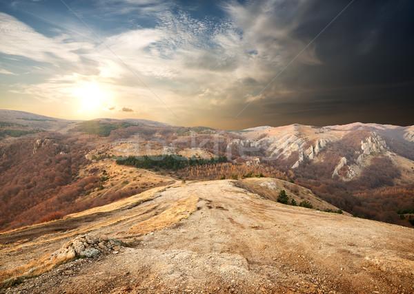 Montanhas outono marrom ensolarado manhã madeira Foto stock © Givaga