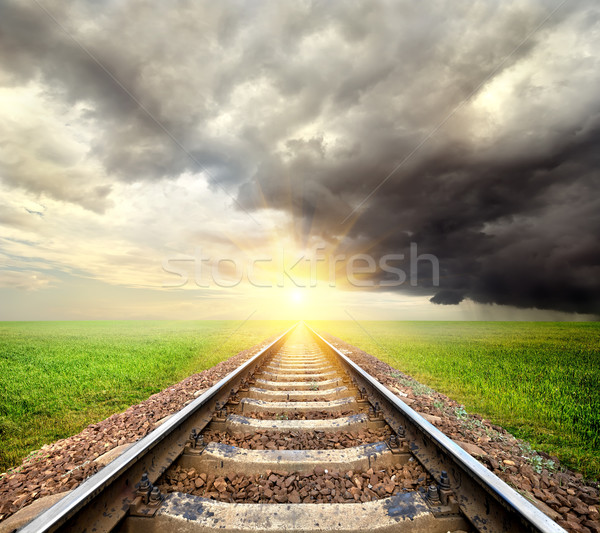 Railroad and clouds Stock photo © Givaga