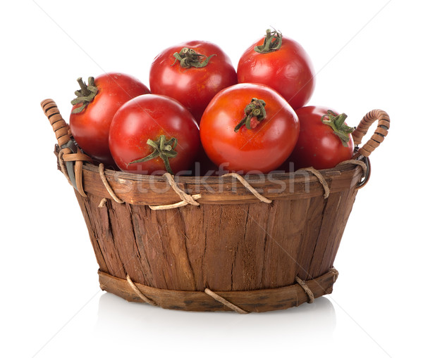 Czerwony pomidory koszyka odizolowany biały żywności Zdjęcia stock © Givaga