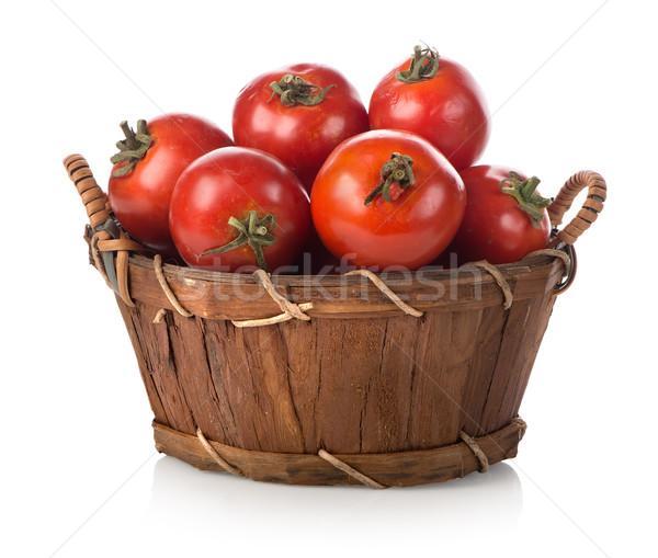 Vermelho tomates cesta isolado branco comida Foto stock © Givaga