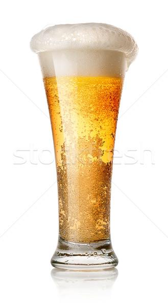 Világos sör üveg izolált fehér buli sör Stock fotó © Givaga