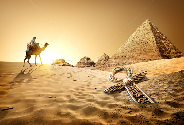 Pyramids and ankh Stock photo © Givaga