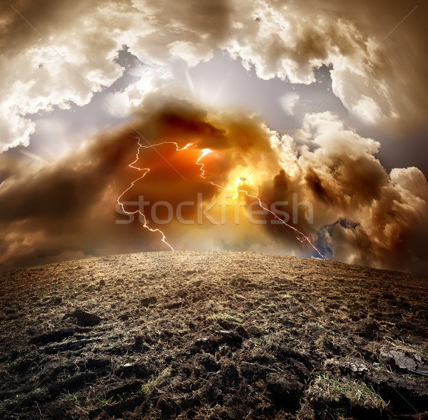 Lightning over field Stock photo © Givaga