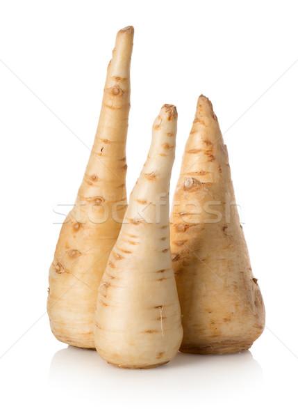 Trzy pietruszka korzenie odizolowany biały rynku Zdjęcia stock © Givaga