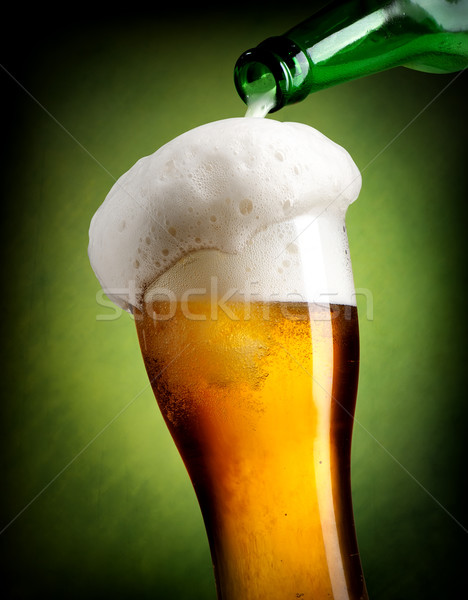 Cerveja verde vidro luz fundo Foto stock © Givaga