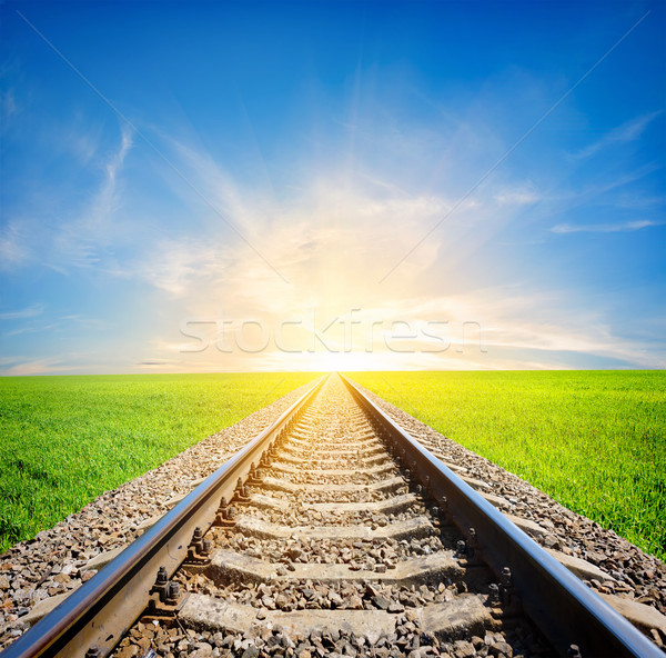 Ferrovia campo sol verde grama paisagem Foto stock © Givaga