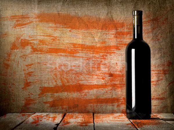 Black bottle of wine texture Stock photo © Givaga