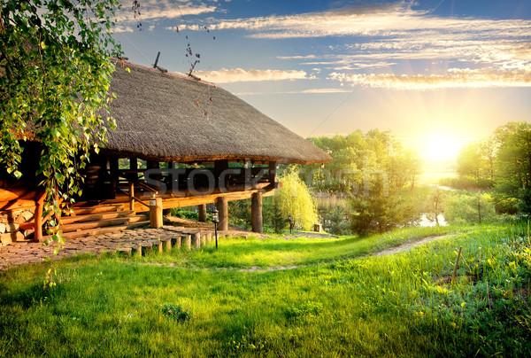 House of log near lake Stock photo © Givaga