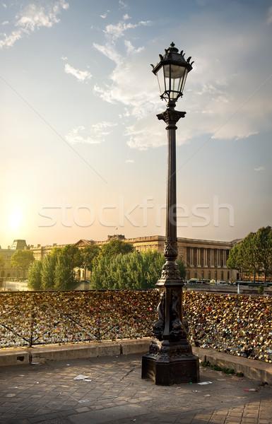 забор любви вокруг фонарь Париж Франция Сток-фото © Givaga