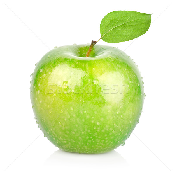 Green apple with a leaf Stock photo © Givaga