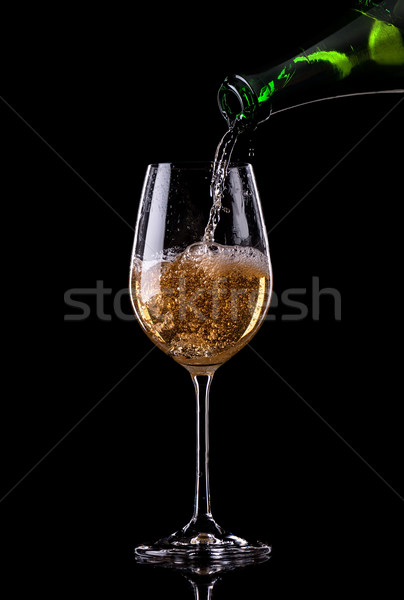 Champagne fles glas zwarte abstract Stockfoto © Givaga