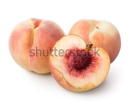 Três belo pêssegos isolado branco fruto Foto stock © Givaga