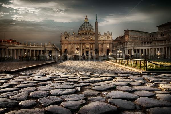 Vaticaan schemering weg kathedraal gebouw stad Stockfoto © Givaga