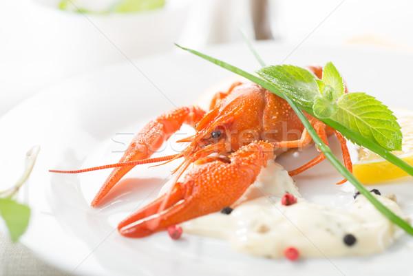 красный омаров белый пластина лимона Сток-фото © Givaga