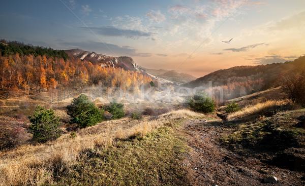 Canyon autunno nebbia montagna cielo nubi Foto d'archivio © Givaga