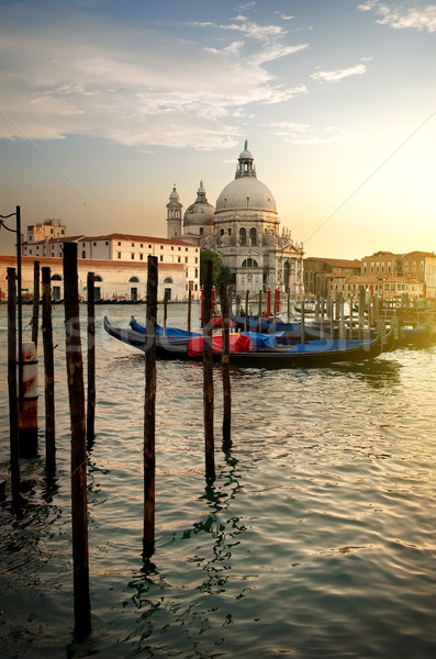 Basilica and gondolas Stock photo © Givaga