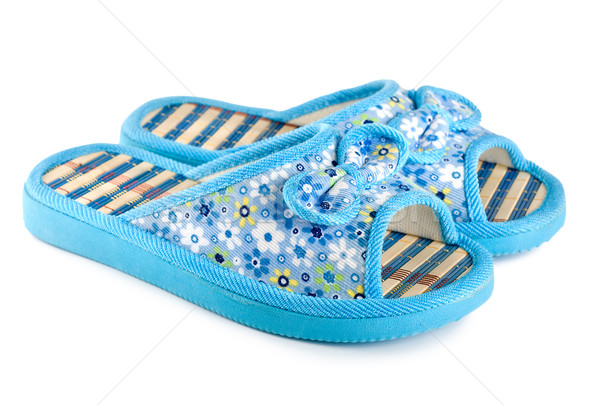 Blue slippers isolated Stock photo © Givaga