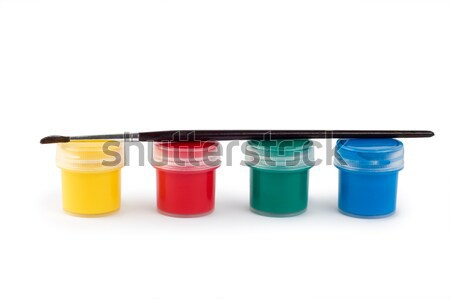 Gouache paint cans and brush Stock photo © Givaga