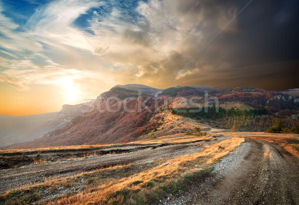 Sunrise in autumn mountains Stock photo © Givaga