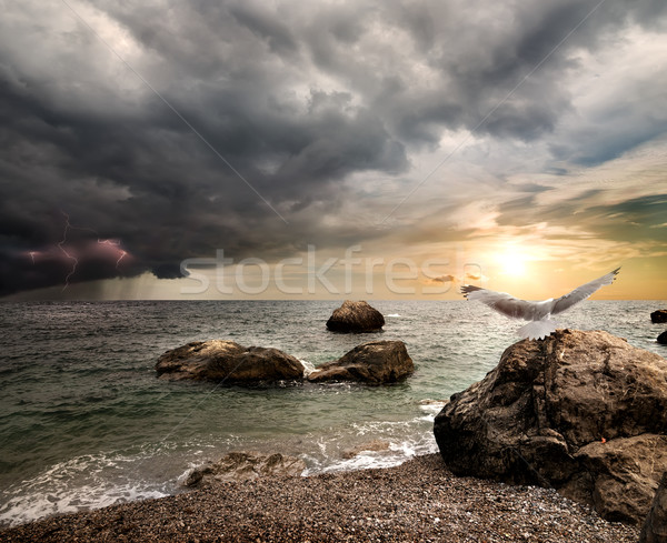 Thunderstorm over sea Stock photo © Givaga