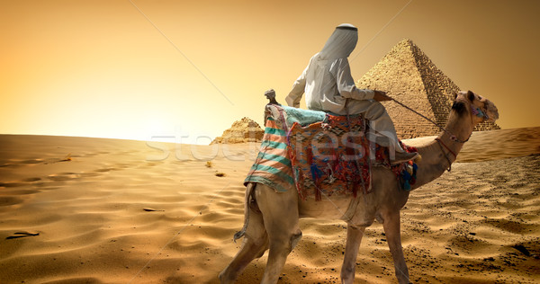 Bedouin on camel in desert Stock photo © Givaga