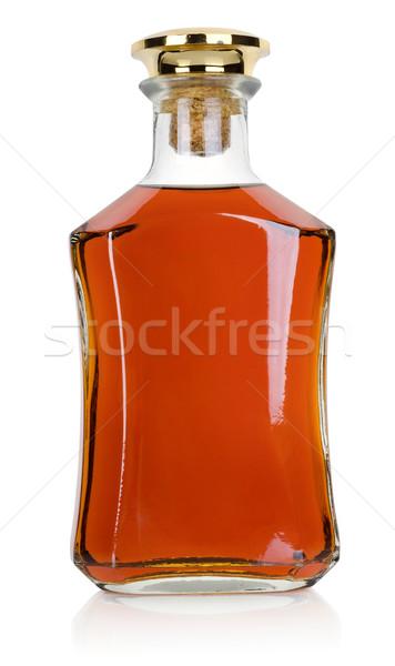 Fles brandewijn geïsoleerd witte glas drinken Stockfoto © Givaga