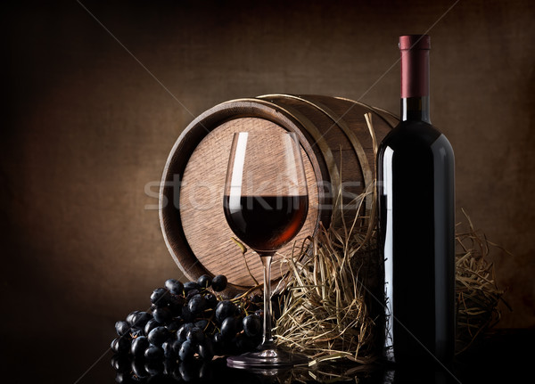 Wine with barrel and hay Stock photo © Givaga
