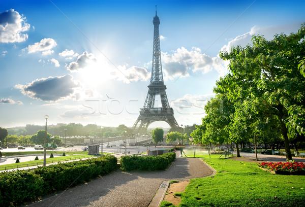 Tour Eiffel parc vert Paris France ciel Photo stock © Givaga