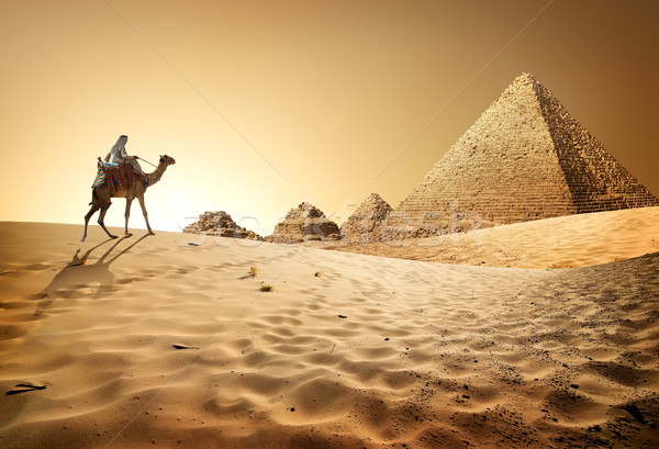 Stock photo: Pyramids in desert
