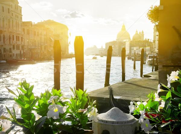 цветы канал Венеция Италия небе город Сток-фото © Givaga