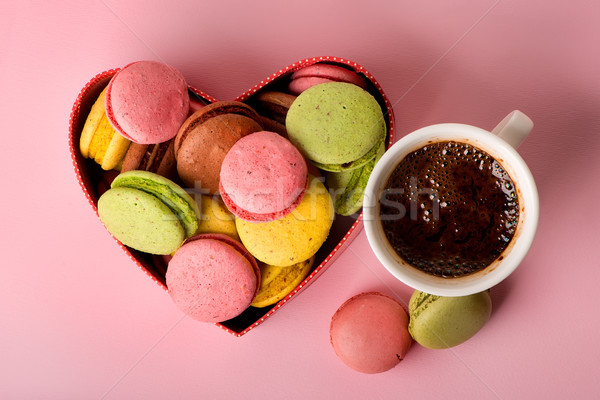 Macarons with coffee Stock photo © Givaga
